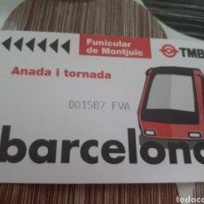 Coleccionismo Billetes de transporte: BILLETE FUNICULAR DE MONTJUIC IDA Y VUELTA IDA Y VUELTA. Lote 160927077