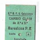 Coleccionismo Billetes de transporte: FERROCARRIL - BARCELONA HASTA IGUALADA O GUARDIOLA - . Lote 160983614