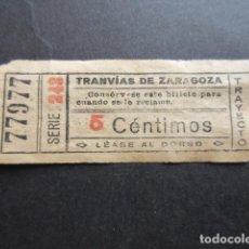 Coleccionismo Billetes de transporte: BILLETE CAPICUA 77977 TRANVIAS DE ZARAGOZA TRAYECTO 13. Lote 161812962