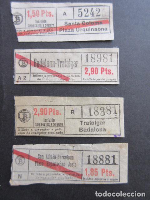 LOTE 4 BILLETES CAPICUA 52425 18981 18381 18881 - TRANVIAS BARCELONA VER TRAYECTOS (Coleccionismo - Billetes de Transporte)