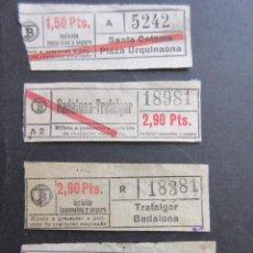 Coleccionismo Billetes de transporte: LOTE 4 BILLETES CAPICUA 52425 18981 18381 18881 - TRANVIAS BARCELONA VER TRAYECTOS. Lote 161813274