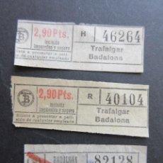Coleccionismo Billetes de transporte: LOTE 3 BILLETE CAPICUA 82128 40104 46264 TRANVIAS BARCELONA VER TRAYECTOS. Lote 161813958