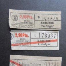Coleccionismo Billetes de transporte: LOTE 3 BILLETE CAPICUA 73937 52225 60206 TRANVIAS BARCELONA VER TRAYECTOS. Lote 161814518