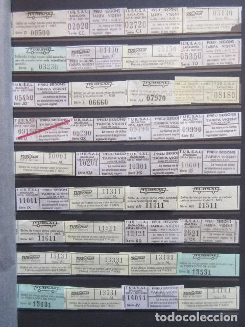 COLECCION 238 BILLETES CAPICUA NUMEROS DIFERENTES BADALONA AUTOBUSES TUSGSAL LEER INTERIOR (Coleccionismo - Billetes de Transporte)