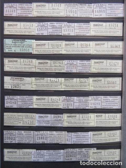 Coleccionismo Billetes de transporte: COLECCION 238 BILLETES CAPICUA NUMEROS DIFERENTES BADALONA AUTOBUSES TUSGSAL LEER INTERIOR - Foto 2 - 161823614