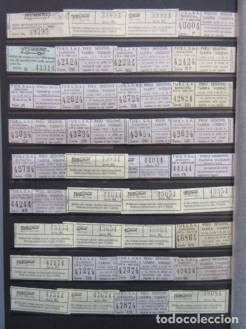 Coleccionismo Billetes de transporte: COLECCION 238 BILLETES CAPICUA NUMEROS DIFERENTES BADALONA AUTOBUSES TUSGSAL LEER INTERIOR - Foto 4 - 161823614