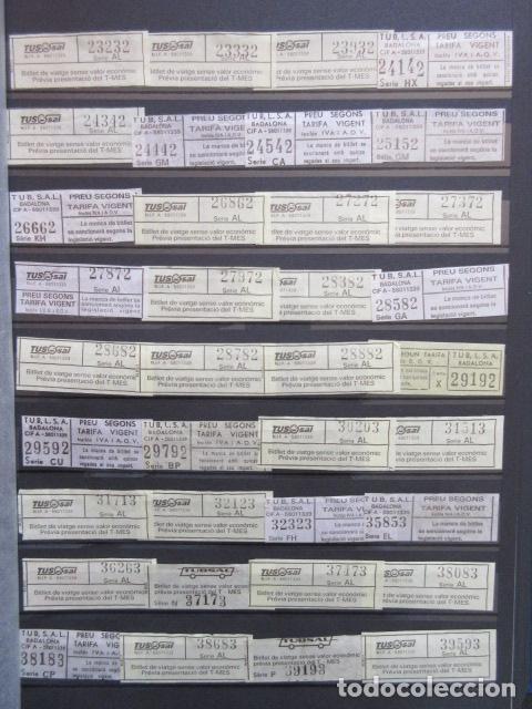 Coleccionismo Billetes de transporte: COLECCION 238 BILLETES CAPICUA NUMEROS DIFERENTES BADALONA AUTOBUSES TUSGSAL LEER INTERIOR - Foto 5 - 161823614