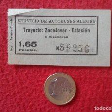 Coleccionismo Billetes de transporte: BILLETE DE TRANSPORTE TICKET SERVICIO DE AUTOBUSES ALEGRE TOLEDO ? TRAYECTO ZOCODOVER ESTACIÓN VER. Lote 162058958
