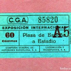 Coleccionismo Billetes de transporte: CURIOSO BILLETE DE TRANSP. DE LA EXPOSICION DE BARCELONA 1929 PZA.ESPAÑA-ESTADIO DE MONTJUIC 60CTS.. Lote 162957278
