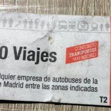 Coleccionismo Billetes de transporte: BILLETE 10 VIAJES ZONAS A-B1 COMUNIDAD DE MADRID . Lote 163022782