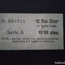 Coleccionismo Billetes de transporte: BILLETE A. CUIÑAS EL PLUS ULTRA. Lote 164243026