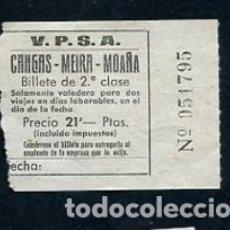 Coleccionismo Billetes de transporte: BILLETE VAPORES DE PASAJE S.A. V.P.S.A. CANGAS MOAÑA MEIRA PONTEVEDRA. Lote 164694518