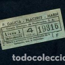 Coleccionismo Billetes de transporte: BILLETE EMPRESA TRANVIAS ELECTRICOS DE PONTEVEDRA LINEAS TROLEBUSES P- GALICIA PLACERES MARIN . Lote 164694794