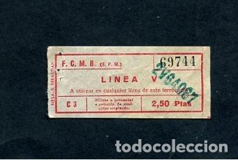 BILLETE METRO DE BARCELONA LINEA V 2.50 PESETAS (Coleccionismo - Billetes de Transporte)