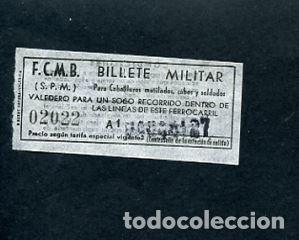 BILLETE METRO DE BARCELONA BILLETE MILITAR (Coleccionismo - Billetes de Transporte)
