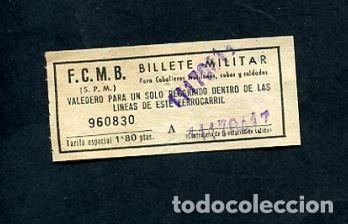 BILLETE METRO DE BARCELONA BILLETE MILITAR 1.80 PESETAS (Coleccionismo - Billetes de Transporte)