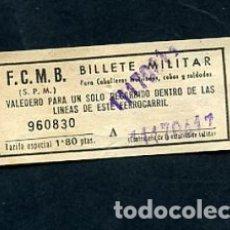 Sammeln von Fahrkarten - BILLETE METRO DE BARCELONA BILLETE MILITAR 1.80 PESETAS - 164695878