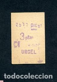 BILLETE METRO DE BARCELONA 3 PESETAS URGEL COLOR BLANCO (Coleccionismo - Billetes de Transporte)