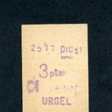 Sammeln von Fahrkarten - BILLETE METRO DE BARCELONA 3 PESETAS URGEL COLOR BLANCO - 164696474