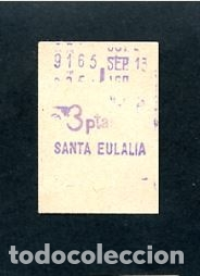 BILLETE METRO DE BARCELONA 3 PESETAS SANTA ELULALIA COLOR BLANCO (Coleccionismo - Billetes de Transporte)