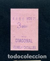 BILLETE METRO DE BARCELONA 3 PESETAS DIAGONAL RAMBLA CATALUÑA COLOR ROSA (Coleccionismo - Billetes de Transporte)
