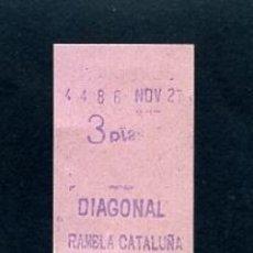 Sammeln von Fahrkarten - BILLETE METRO DE BARCELONA 3 PESETAS DIAGONAL RAMBLA CATALUÑA COLOR ROSA - 164697926