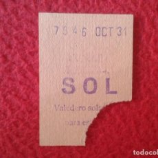 Coleccionismo Billetes de transporte: BILLET BIGLIETTO BILLETE TICKET VALE ENTRADA DE TRANSPORTE METRO ? AUTOBUS ? MADRID ? SOL OCT. 31 ?. Lote 164949962