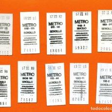 Coleccionismo Billetes de transporte: METRO MADRID - COLECCION DE 10 BILLETES SENCILLOS POR AÑOS DESDE AÑO 1980 A 1997 - LEER INTERIOR. Lote 165083002
