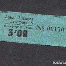 Coleccionismo Billetes de transporte: BILLETE CANARIAS AUTOBUSES URBANOS TACORONTE 3 PESETAS. Lote 165652330