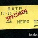 Coleccionismo Billetes de transporte: BILLETE R.A.T.P. FRANCIA PARIS BILLETE METRO . Lote 165654578