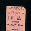Coleccionismo Billetes de transporte: BILLETE EDMONSON RENNES PARIS MONTPARNASSE. Lote 165656694