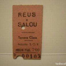 Coleccionismo Billetes de transporte: BILLETE EDMONSON LINEA REUS - SALOU AÑOS 60 EN BUEN ESTADO. Lote 165681534