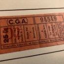 Coleccionismo Billetes de transporte: ANTIGUO BILLETE DE TRANSPORTE C.G.A 25 CÉNTIMOS. Lote 165699033