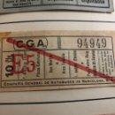 Coleccionismo Billetes de transporte: ANTIGUO BILLETE DE TRANSPORTE C.G.A 25 CÉNTIMOS. Lote 165699080