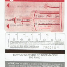 Coleccionismo Billetes de transporte: TORRE DEL ORO -ANTIGUO ABONO AUTOBUS CON TRANSBORDO -SIN PUBLICIDAD REVERSO , TUSSAM SEVILLA BUS. Lote 165950274