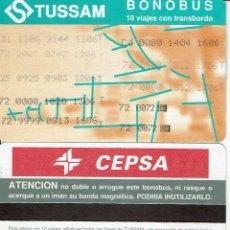 Coleccionismo Billetes de transporte: GIRALDA -ANTIGUO ABONO AUTOBUS CON TRANSBORDO - PUBLICIDAD REVERSO CEPSA , TUSSAM SEVILLA BUS. Lote 165950982