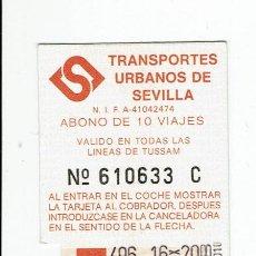 Coleccionismo Billetes de transporte: ANTIGUO ABONO AUTOBUS - , TUSSAM SEVILLA BUS. Lote 165952282