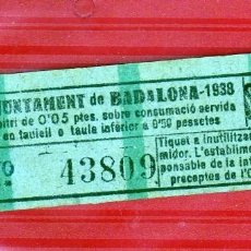 Coleccionismo Billetes de transporte: GUERRA CIVIL AJUNTAMENT DE BADALONA 1938 ARBITRIO DE 0,05PTAS.PARA CONSUMICIÓN DE MESA (VERDE CLARO). Lote 166568434