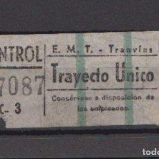 Coleccionismo Billetes de transporte: BILLETE EMT TRANVIAS DE MADRID TRAYECTO UNICO DOS LINEAS VERDES. Lote 166711666