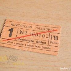 Coleccionismo Billetes de transporte: BILLETE AUTOBUSES SABADELL - AÑOS 60. Lote 166778338