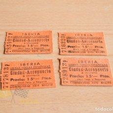 Coleccionismo Billetes de transporte: BILLETES CIUDAD-AEROPUERTO - IBERIA- AÑOS 60. Lote 166782394
