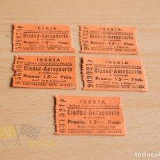 Coleccionismo Billetes de transporte: BILLETES CIUDAD-AEROPUERTO - IBERIA- AÑOS 60. Lote 166782438