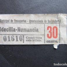 Coleccionismo Billetes de transporte: BILLETE CAPICUA 01610 SANTANDER TROLEBUSES 30 CENTIMOS VALDECILLA NUMANCIA. Lote 166786250