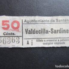 Coleccionismo Billetes de transporte: BILLETE CAPICUA 36363 SANTANDER TRANVIAS 50 CENTIMOS VALDECILLA SARDINERO. Lote 166789802