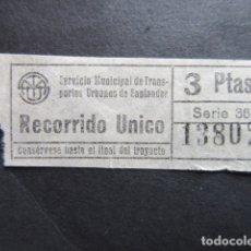Coleccionismo Billetes de transporte: BILLETE SANTANDER AUTOBUSES 3 PESETAS RECORRIDO UNICO. Lote 166789946