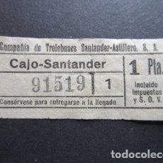 Coleccionismo Billetes de transporte: BILLETE SANTANDER CAPICUA 91519 TROLEBUS SANTANDER ASTILLERO CAJO 1 PESETA MODELO SIN LETRA BLANCO. Lote 166790166