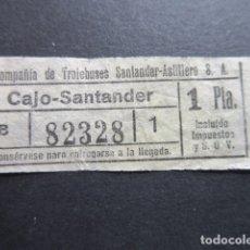 Coleccionismo Billetes de transporte: BILLETE SANTANDER CAPICUA 82328 TROLEBUS SANTANDER ASTILLERO CAJO 1 PESETA MODELO CON LETRA BLANCO. Lote 166790226