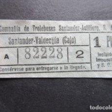 Coleccionismo Billetes de transporte: BILLETE SANTANDER CAPICUA 82228 TROLEBUS SANTANDER ASTILLERO CAJO 1 PESETA MODELO CON LETRA A AZUL. Lote 166790270