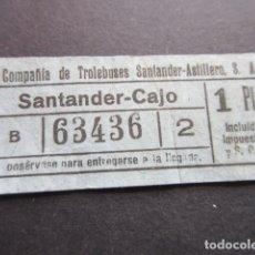 Coleccionismo Billetes de transporte: BILLETE SANTANDER CAPICUA 63436 TROLEBUS SANTANDER ASTILLERO CAJO 1 PESETA MODELO CON LETRA B AZUL. Lote 166790294