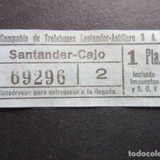 Coleccionismo Billetes de transporte: BILLETE SANTANDER CAPICUA 69296 TROLEBUS SANTANDER ASTILLERO CAJO 1 PESETA MODELO SIN LETRA AZUL. Lote 166790362